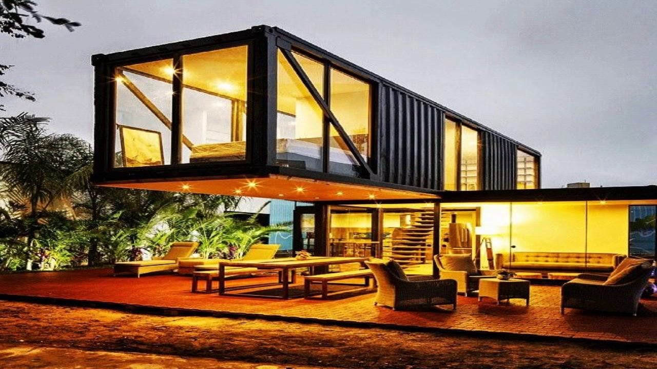 Modern cabin container home designs youtube for Modern container home designs