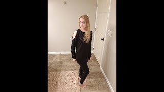OUGES Women's Cutout Cold Shoulder Long Sleeve T-Shirt Tunic Tops