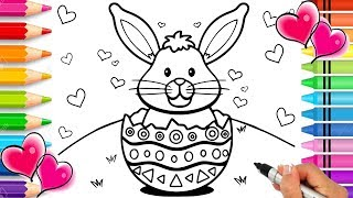 Gambar cover Easter Bunny Coloring Page | Easter Coloring Book | Sparkle Glitter Easter Egg Coloring | Printable