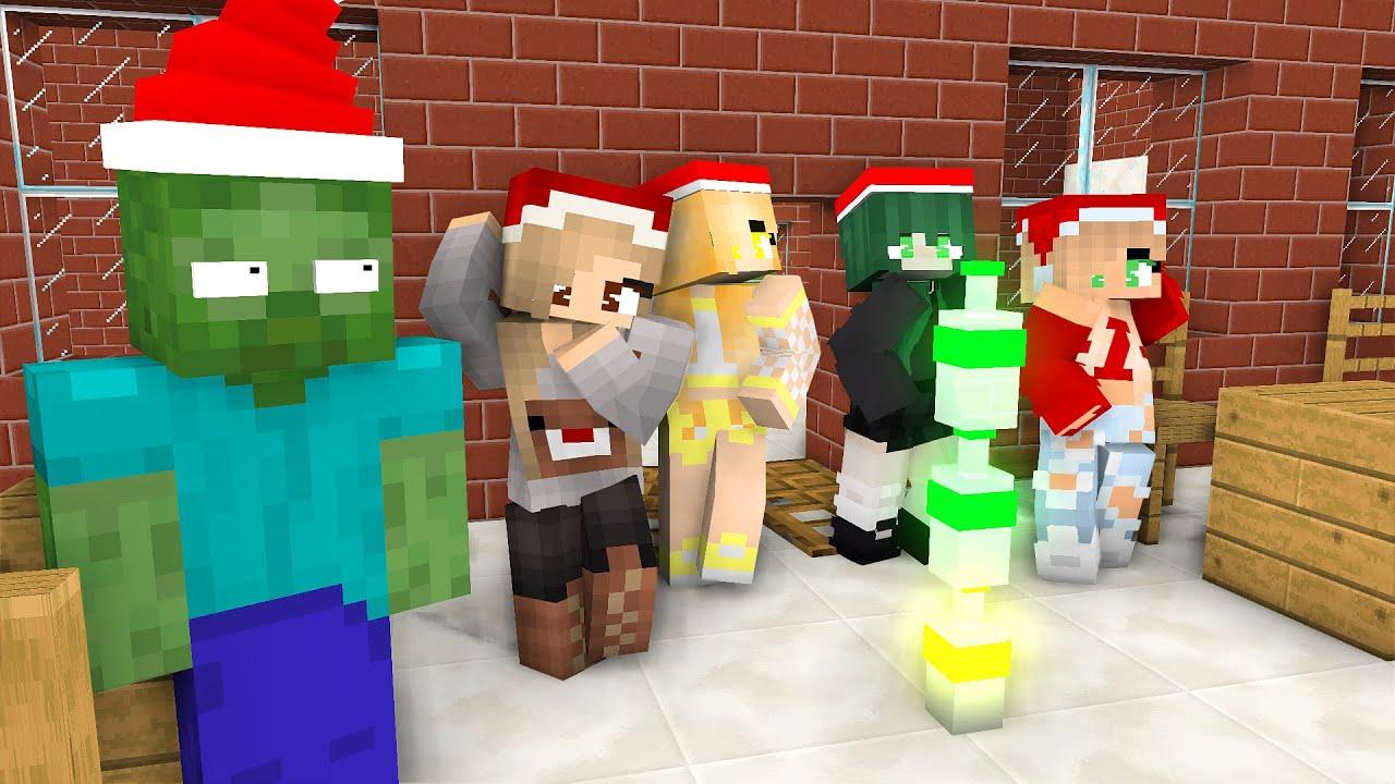 Download Monster School : CHRISTMAS BOTTLE FLIP ZOMBIE VS GIRLS - Minecraft Animation