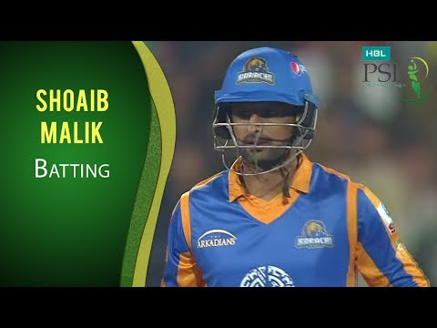 PSL 2017 Match 13: Peshawar Zalmi vs Karachi Kings - Shoaib Malik Batting
