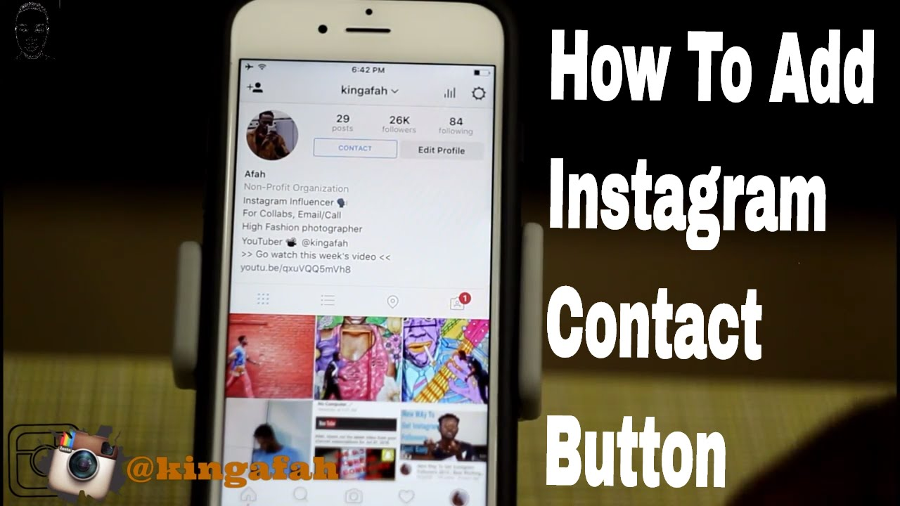 how to put contact button on instagram