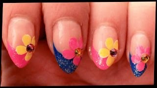 Pink & Blue Tips with Flowers nail art