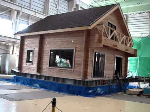 Log House On Earthquake Test Youtube