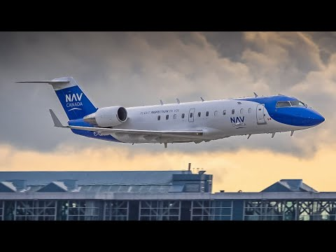 (4K) **EXTREMELY LOW FLYBY** NAV Canada CRJ2   ILS Testing At Vancouver YVR (LIVE ATC)