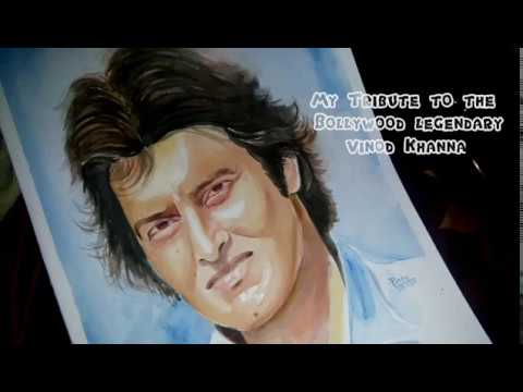 Tribute to Vinod Khanna | Painting of Bollywood actor | How to Paint a Portrait in Watercolor