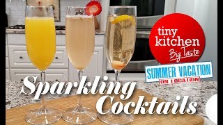 Sparkling Cocktails (Morning Mimosa, TK Bay Berry Fizz, Champagne Cocktail) / Tiny Kitchen Big Taste