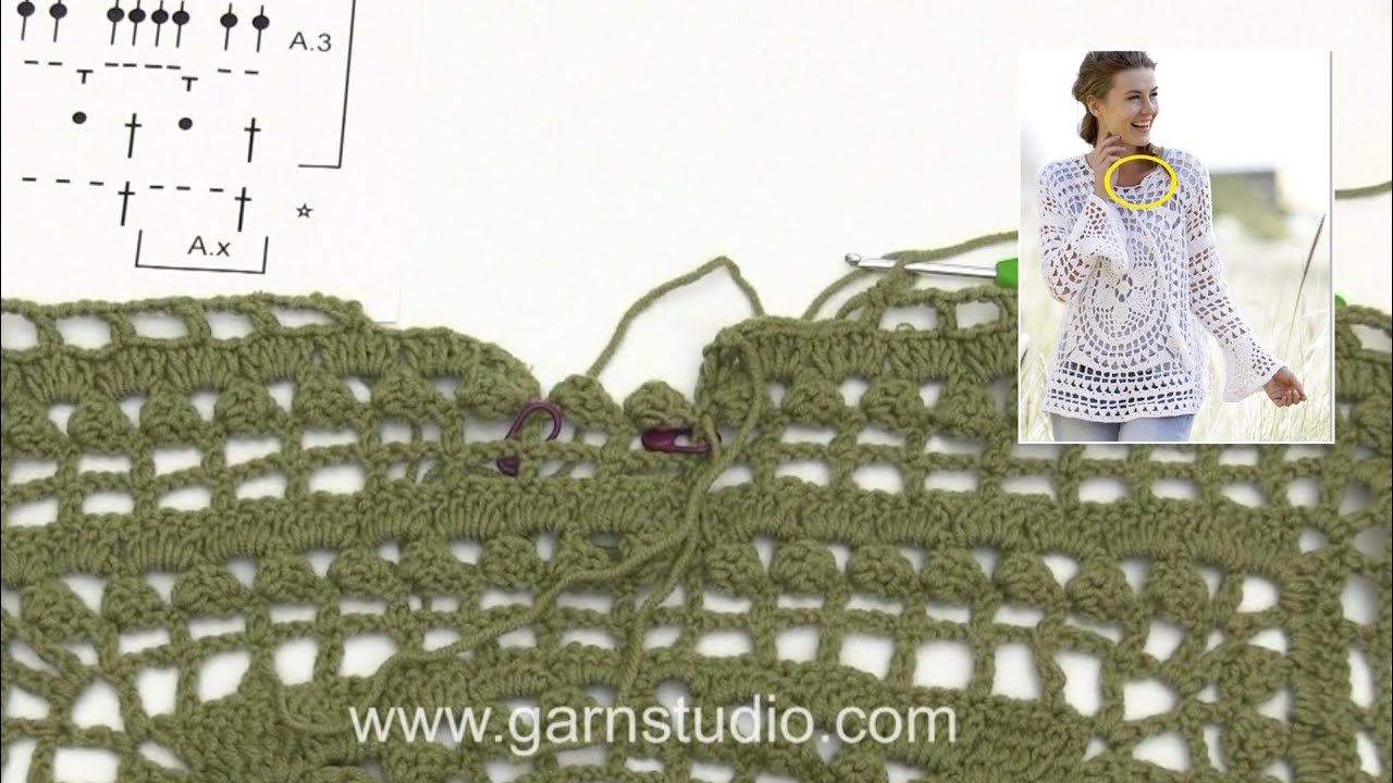 How To Crochet The Neck In Drops 170 2 Youtube