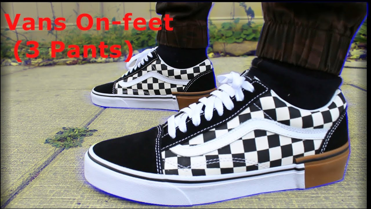 VANS OLD SKOOL 'CHECKERED' ON FEET REVIEW (3 PANTS) YouTube