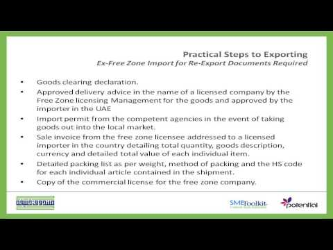 Procedures and Documents of Ex  Free zone Import for Re export