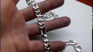 Цепочка из серебра Кортье (Фигаро) 120 грамм. Массивная мужская цепь ручной работы из серебра.