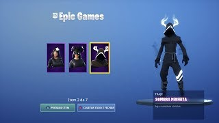"NEW SHADOWS PACK! SKINS ""DARK CAVEIRINHA"", ""BIRD OF SHADOWS"" AND ""PERFECT SHADOW""! Fortnite"
