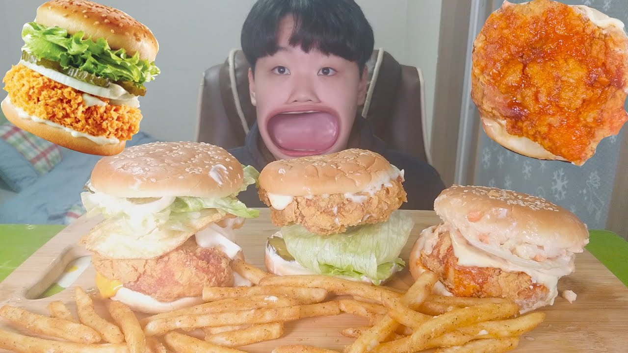맘스터치 싸이버거 먹방 (인크레더블버거,핫네슈빌버거)/햄버거 먹방ASMR