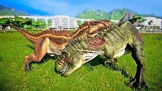 🌍 Jurassic World Evolution - Tyrannosaurus Rex Vs Acrocanthosaurus Fight (Dinosaur Battle)