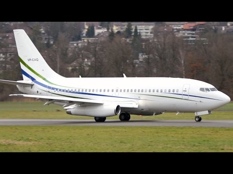 Boeing 737-200 ADV Take Off at Airport Bern-Belp - JT8D Engine Sounds