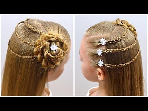 CUTE & EASY HAIRSTYLE With HAIR FLOWER! Half Up Half Down  Hairstyle By LittleGirlHair (13+)