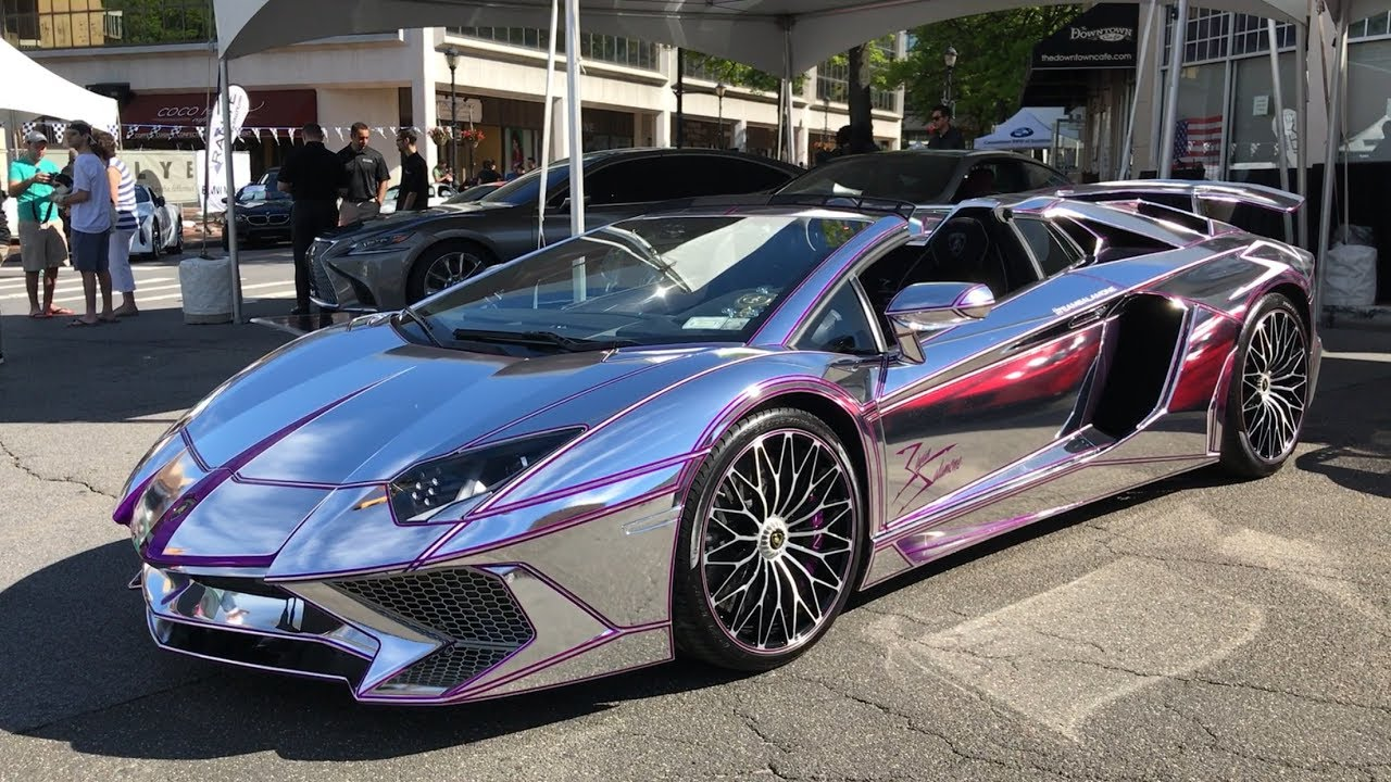 Chrome & Purple Lamborghini Aventador SV ! - YouTube