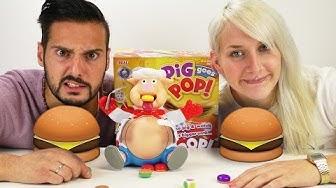 PIG GOES POP! Nina und Kaan füttern das Schwein bis es platzt! - All you can eat Hamburger