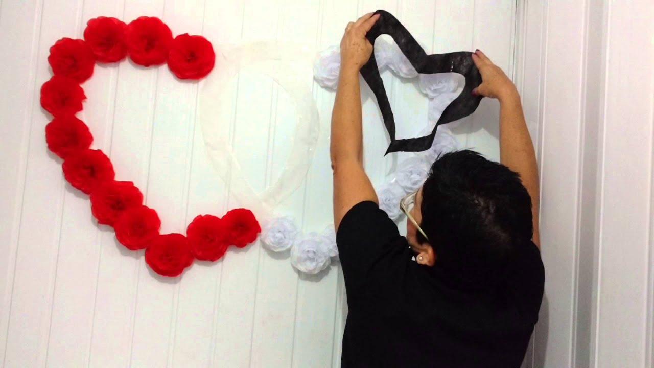 Aula 46 Como fazer corações com flores de papel crepom (Artesanato) YouTube -> Decoração De Papel Crepom Como Fazer