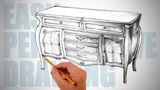 How to draw furniture - Easy Perspective Drawing 34