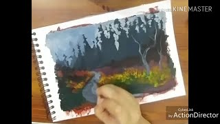 Autumn Scenery Timelapse PAINTING | Followed YouTube STEP BY STEP Painting TUTORIAL