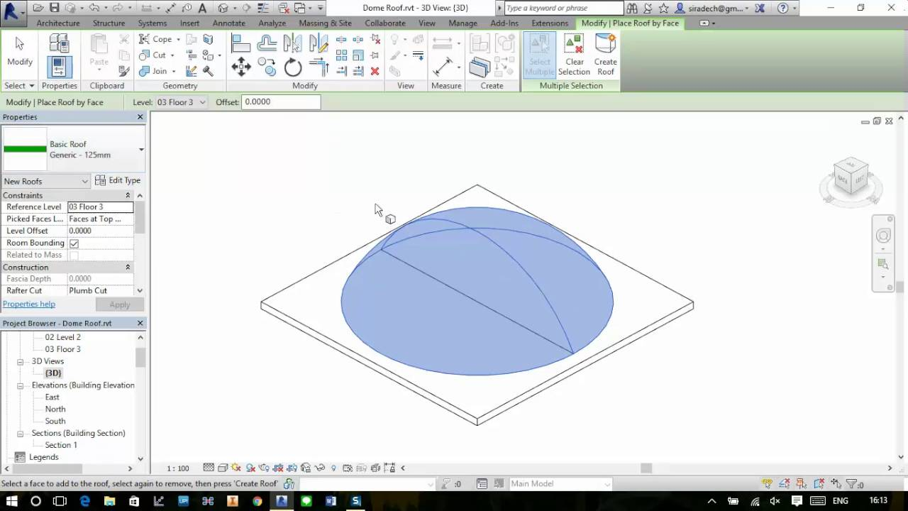 Revit 2016 Create Dome Roof By Face Youtube