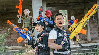 LTT Films : Couple Silver Flash Nerf Guns Fight Criminal Group Tiger Mask  Special Police