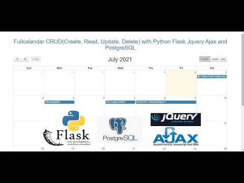 Fullcalandar CRUD(Create, Read, Update, Delete) with Python Flask Jquery Ajax and PostgreSQL