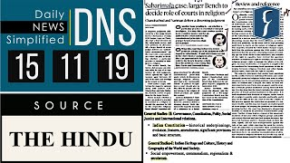 Daily News Simplified 15-11-19 (The Hindu Newspaper - Current Affairs - Analysis for UPSC/IAS Exam)