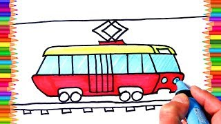 How to Draw Tram Transport Colouring Book for Kids  Learning Coloring Pages with Colored Markers