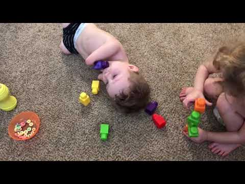 Camden & Ryleigh Build With Blocks