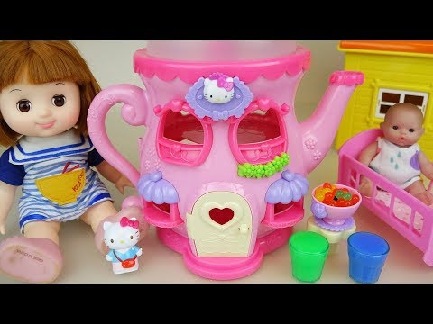 Baby doll and Hello Kitty jar house with cooking toys play
