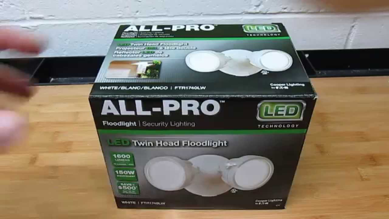All pro twin head outdoor white round led flood light review all pro twin head outdoor white round led flood light review ftr1740lw youtube mozeypictures