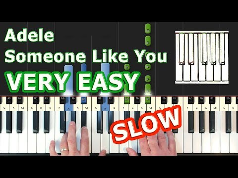 Adele - Someone Like You - SLOW Piano Tutorial EASY - How To Play (Synthesia)