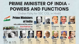 Prime Minister of India - Powers and Functions   Indian Polity for SSC CGL (In Hindi)