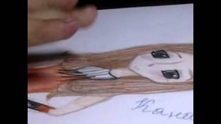 """Рисуем с Дашулей-Няшулей#1 арт """"Девочка Лисичка"""""""