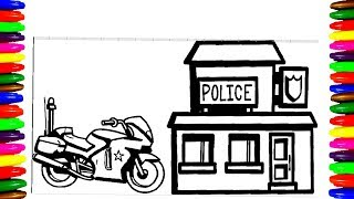 Coloring Pages for kids POLICE STATION, Children Learning Fun Art w/ Colored Markers