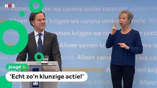 Mark Rutte en Hugo de Jonge over bloopers tijdens de persconferenties