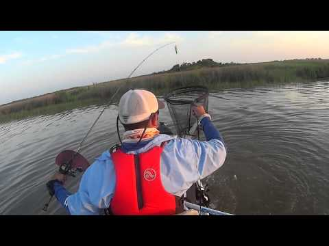 Kayak fishing for red fish in trinity bay youtube for Trinity bay fishing