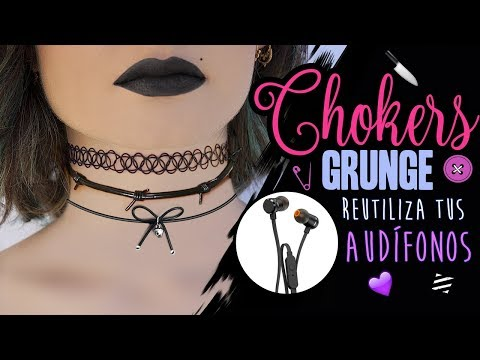 3 CHOKERS GRUNGE 😈 CON AUDÍFONOS DAÑADOS! - 3 grungy chokers with cords