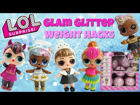 LOL Surprise Glam Glitter Weight Hacks Neon QT, DJ, It Baby, Sugar and Spice LOL Surprise Unboxing