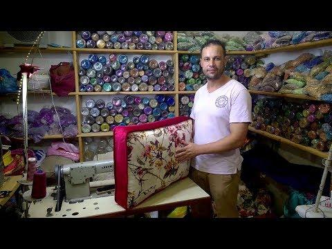طريقة خياطة مخدة على شكل شنطة بالكوردون__The method of sewing a pillow shaped