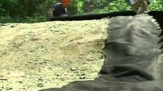 Geoweb installing a geotextile underlayer