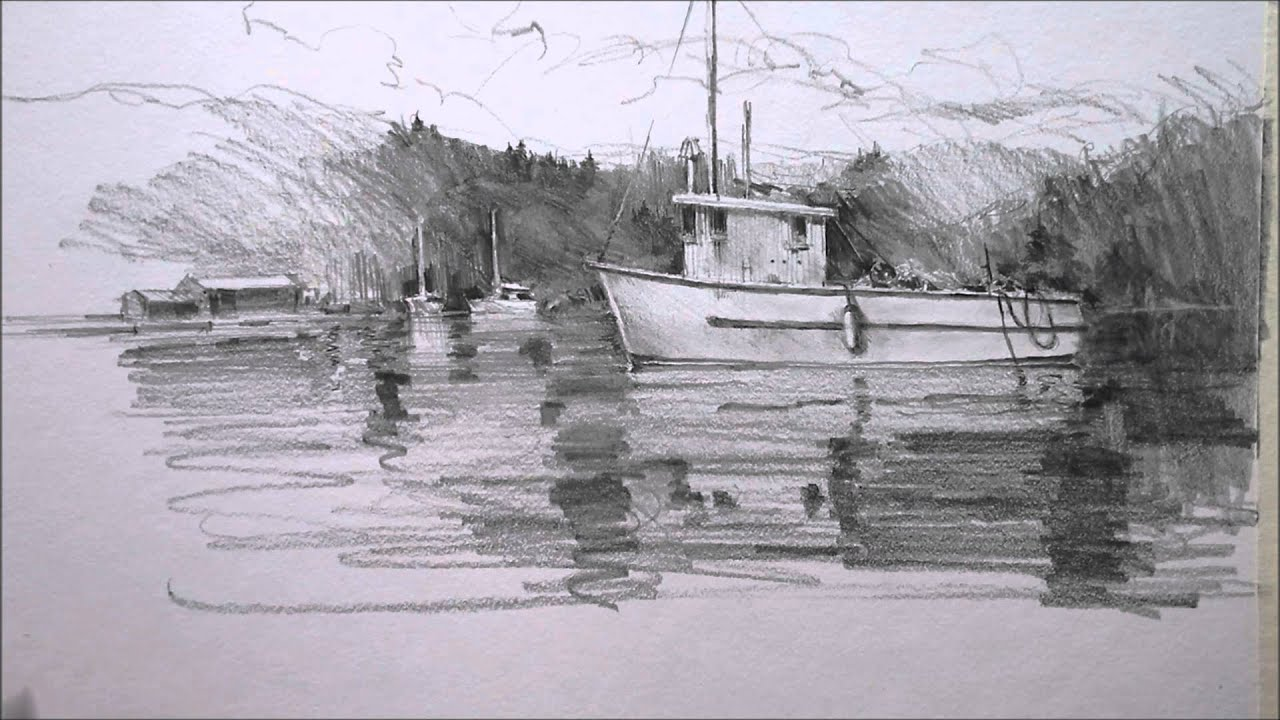 Pencil drawing boat