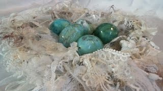 Shabby chic lace birdnest with altered real eggs