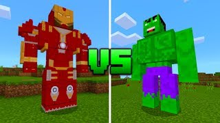 HULK vs HULKBUSTER in Minecraft PE (Hulk vs Iron Man)