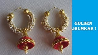 How to make Quilling Earrings | Jhumkas | 6 minutes | Golden and Red | DIY