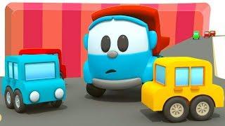 Leo der Lastwagen baut ein Parkhaus. Zeichentrickfilm für Kinder.