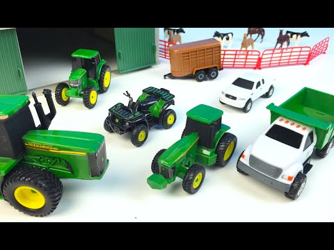 Thumbnail: JOHN DEERE FARM TOY PLAYSET UNBOXING HORSES COWS VEHICLES ARTICULATED TRACTOR FORKLIFT