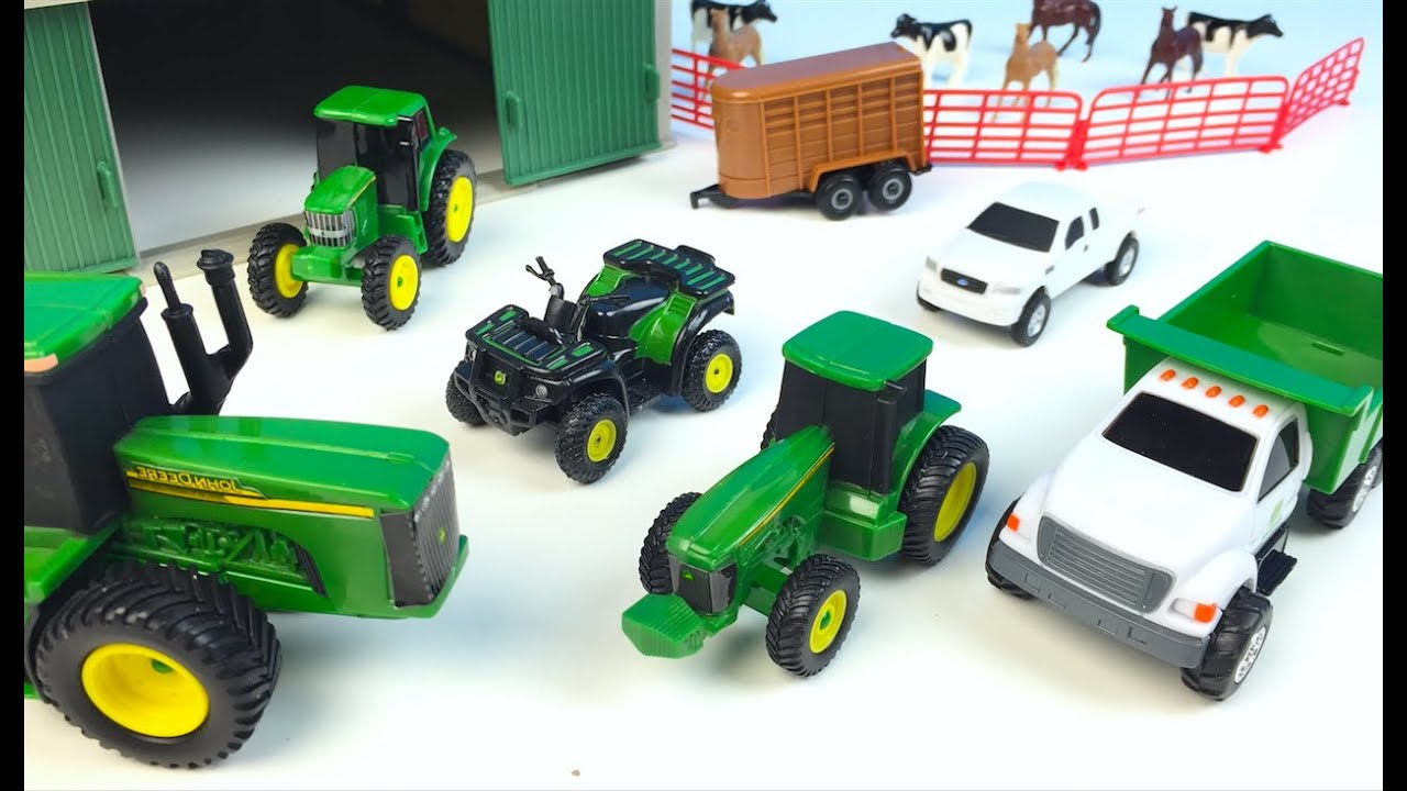 Toys For 6 : John deere farm toy playset unboxing horses cows vehicles